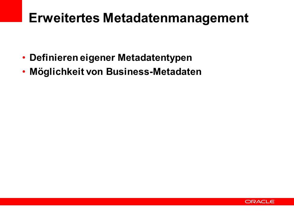 Erweitertes Metadatenmanagement Definieren eigener Metadatentypen Möglichkeit von Business-Metadaten
