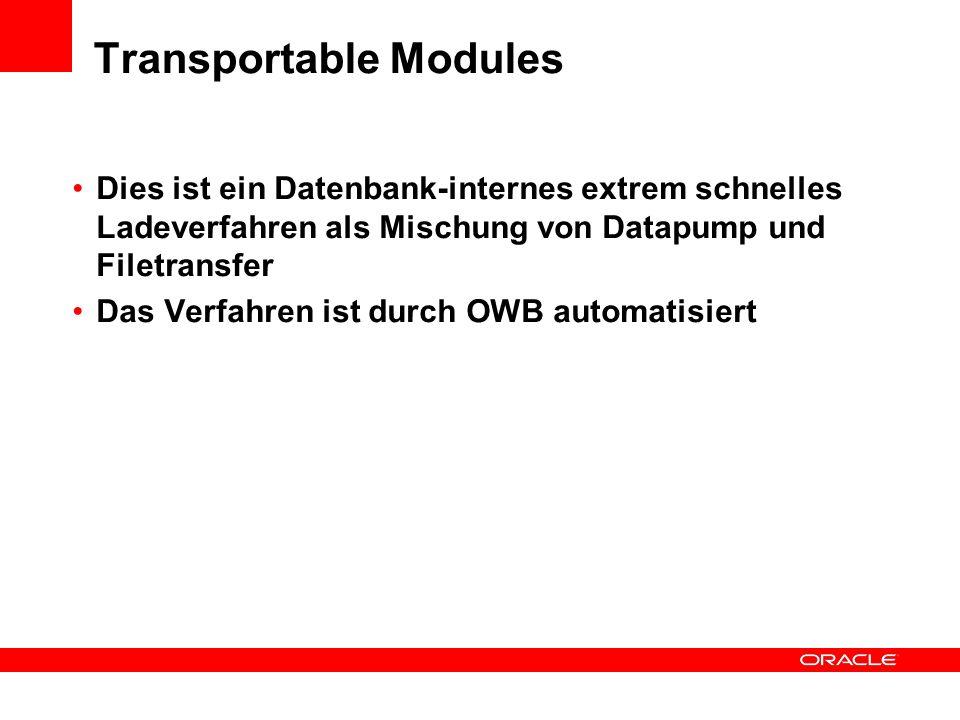 Transportable Modules Dies ist ein Datenbank-internes extrem schnelles Ladeverfahren als Mischung von Datapump und Filetransfer Das Verfahren ist durch OWB automatisiert