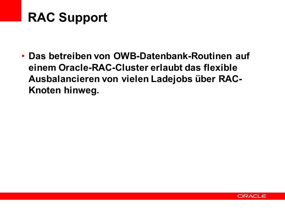 RAC Support Das betreiben von OWB-Datenbank-Routinen auf einem Oracle-RAC-Cluster erlaubt das flexible Ausbalancieren von vielen Ladejobs über RAC- Knoten hinweg.
