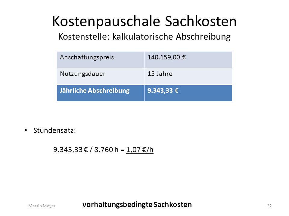 Kostenpauschale Sachkosten Kostenstelle: kalkulatorische Abschreibung Anschaffungspreis140.159,00 € Nutzungsdauer15 Jahre Jährliche Abschreibung9.343,33 € Martin Meyer22 vorhaltungsbedingte Sachkosten Stundensatz: 9.343,33 € / 8.760 h = 1,07 €/h