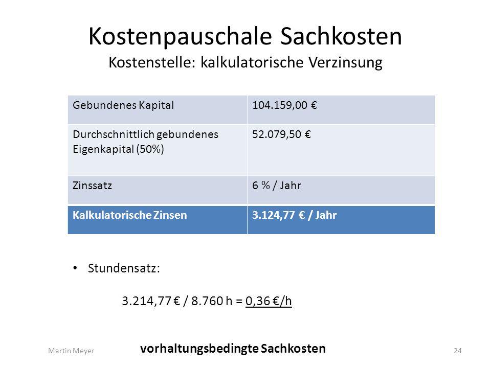 Kostenpauschale Sachkosten Kostenstelle: kalkulatorische Verzinsung Gebundenes Kapital104.159,00 € Durchschnittlich gebundenes Eigenkapital (50%) 52.079,50 € Zinssatz6 % / Jahr Kalkulatorische Zinsen3.124,77 € / Jahr Martin Meyer24 vorhaltungsbedingte Sachkosten Stundensatz: 3.214,77 € / 8.760 h = 0,36 €/h
