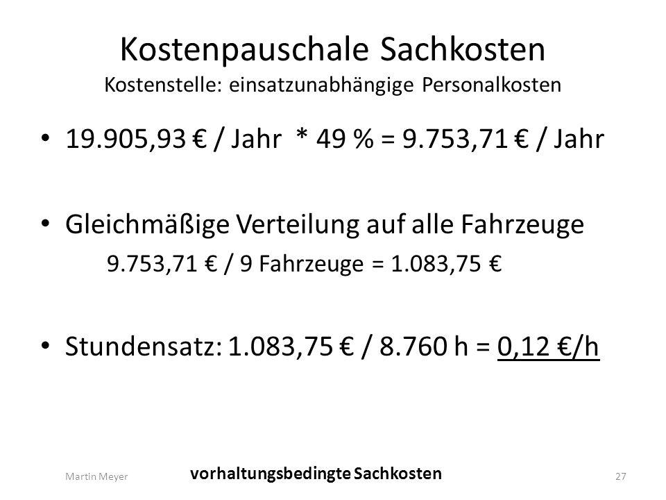 Kostenpauschale Sachkosten Kostenstelle: einsatzunabhängige Personalkosten Martin Meyer27 vorhaltungsbedingte Sachkosten 19.905,93 € / Jahr * 49 % = 9.753,71 € / Jahr Gleichmäßige Verteilung auf alle Fahrzeuge 9.753,71 € / 9 Fahrzeuge = 1.083,75 € Stundensatz: 1.083,75 € / 8.760 h = 0,12 €/h