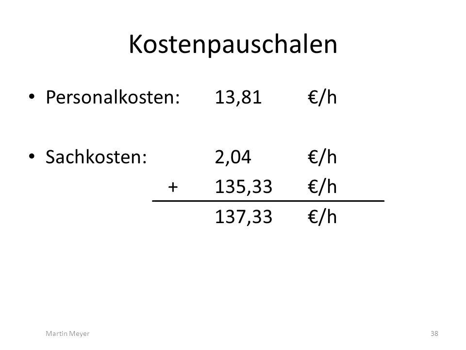Kostenpauschalen Personalkosten: 13,81 €/h Sachkosten:2,04 €/h +135,33 €/h 137,33€/h Martin Meyer38