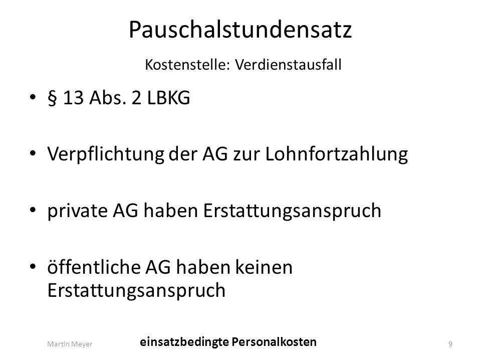 Pauschalstundensatz Gesamt Kalkulatorische Abschreibung 1,07 €/h Kalkulatorische Zinsen0,36 €/h einsatzunabhängige Fahrzeugkosten 0,28 €/h einsatzunabhängige Personalkosten 0,12 €/h Gebäudekosten0,21 €/h Pauschalstundensatz gesamt 2,04 €/h Martin Meyer30 vorhaltungsbedingte Sachkosten