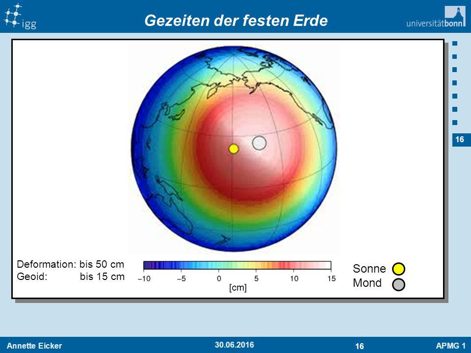 Annette EickerAPMG 1 16 30.06.2016 Gezeiten der festen Erde Sonne Mond Deformation: bis 50 cm Geoid: bis 15 cm