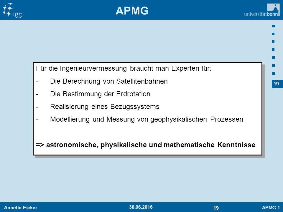 Annette EickerAPMG 1 19 30.06.2016 APMG Für die Ingenieurvermessung braucht man Experten für: -Die Berechnung von Satellitenbahnen -Die Bestimmung der