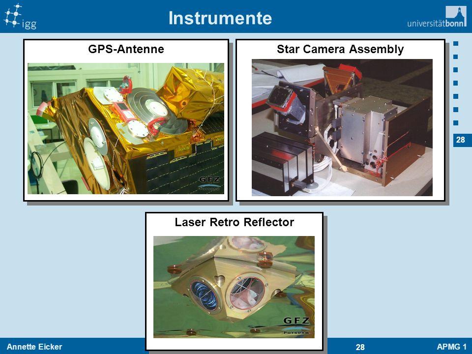 Annette EickerAPMG 1 28 30.06.2016 Instrumente GPS-Antenne Laser Retro Reflector Star Camera Assembly