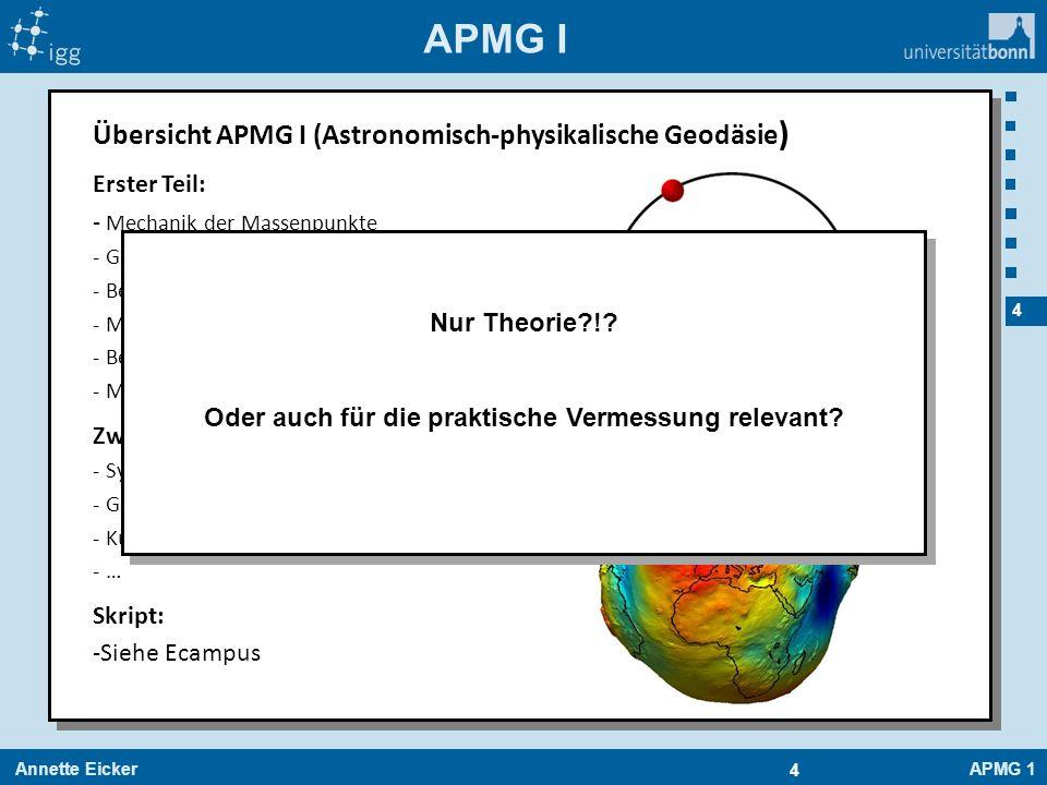 Annette EickerAPMG 1 4 4 APMG I Übersicht APMG I (Astronomisch-physikalische Geodäsie ) Erster Teil: - Mechanik der Massenpunkte - Gravitationswechsel