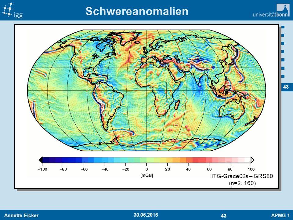Annette EickerAPMG 1 43 30.06.2016 Schwereanomalien ITG-Grace02s – GRS80 (n=2..160)