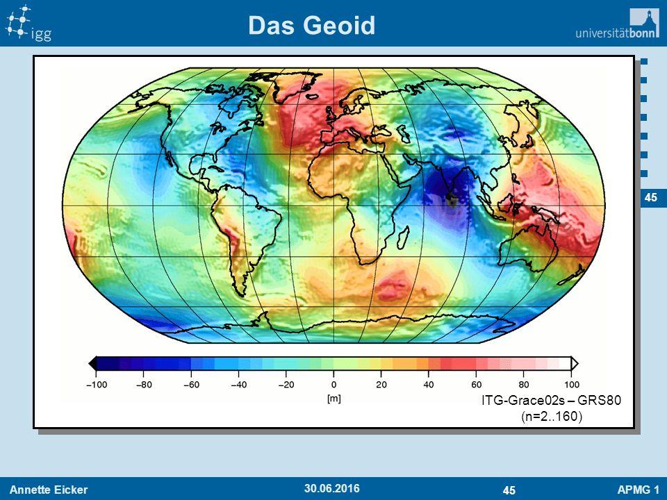 Annette EickerAPMG 1 45 30.06.2016 Das Geoid ITG-Grace02s – GRS80 (n=2..160)