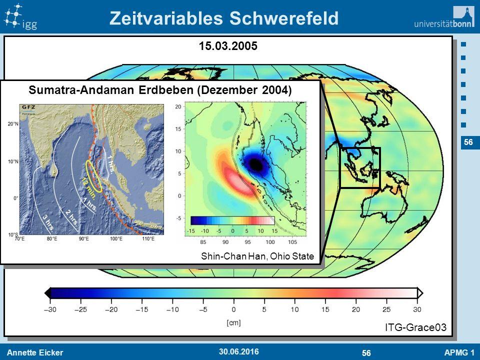 Annette EickerAPMG 1 56 30.06.2016 15.03.2005 Zeitvariables Schwerefeld ITG-Grace03 Sumatra-Andaman Erdbeben (Dezember 2004) Shin-Chan Han, Ohio State