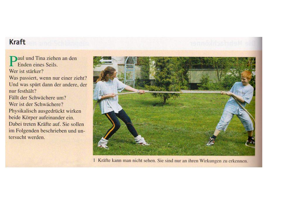Die Kraft ( Lb.Kl.5 S. 124 f) Die Kraft gibt an, wie stark ein Körper auf einen anderen einwirkt.