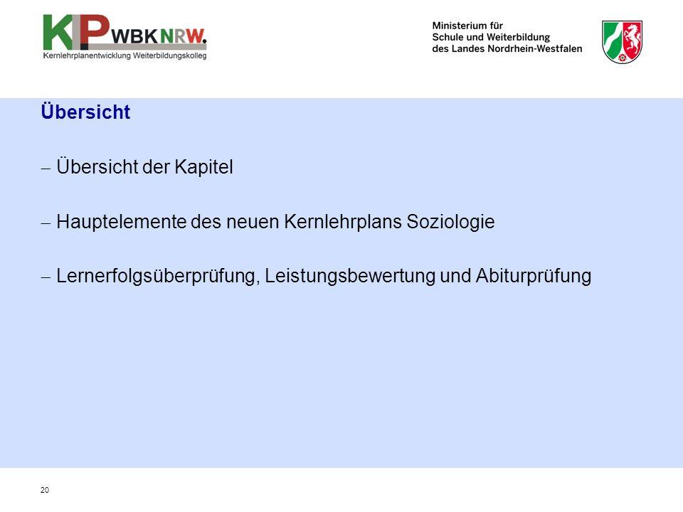 20 Übersicht  Übersicht der Kapitel  Hauptelemente des neuen Kernlehrplans Soziologie  Lernerfolgsüberprüfung, Leistungsbewertung und Abiturprüfung