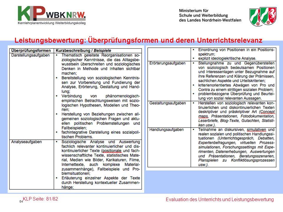 Leistungsbewertung: Überprüfungsformen und deren Unterrichtsrelevanz Evaluation des Unterrichts und Leistungsbewertung KLP Seite: 81/82 64