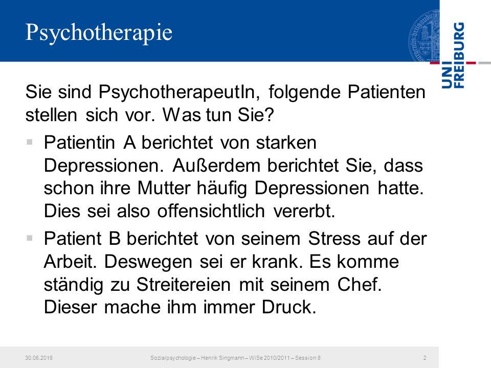 Sie sind PsychotherapeutIn, folgende Patienten stellen sich vor.
