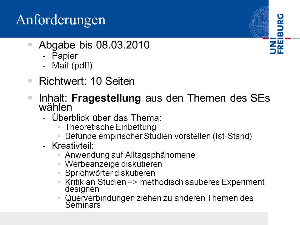 Aufbau der Arbeit 10 Seiten Hausarbeit… bestehen aus: 1 Seite Deckblatt: -Titel, -AutorIn (+ Emailadresse für Rückfragen), -Institut (Albert-Ludwigs-Universität Freiburg, Institut für Psychologie), -Veranstaltung (Seminar 'Einstellungen und Einstellungsänderung') -Semester (1.