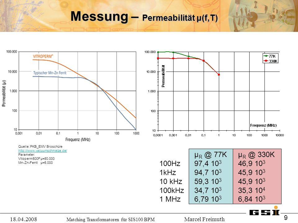 Matching Transformatoren für SIS100 BPM Marcel Freimuth Messung – Permeabilität μ(f,T) µ R @ 77Kµ R @ 330K 100Hz97,4 10 3 46,9 10 3 1kHz94,7 10 3 45,9 10 3 10 kHz59,3 10 3 45,9 10 3 100kHz 34,7 10 3 35,3 10 4 1 MHz6,79 10 3 6,84 10 3 Quelle: PKB_EMV Broschüre http://www.vacuumschmelze.de/ Parameter: Vitoperm500F µ=80.000 Mn-Zn-Ferrit µ=5.000 18.04.2008 9