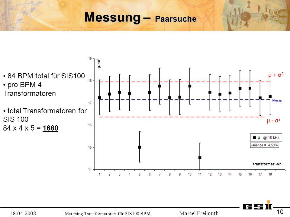 Matching Transformatoren für SIS100 BPM Marcel Freimuth Messung – Paarsuche 84 BPM total für SIS100 pro BPM 4 Transformatoren total Transformatoren for SIS 100 84 x 4 x 5 = 1680 18.04.2008 10 μ + σ 2 μ - σ 2