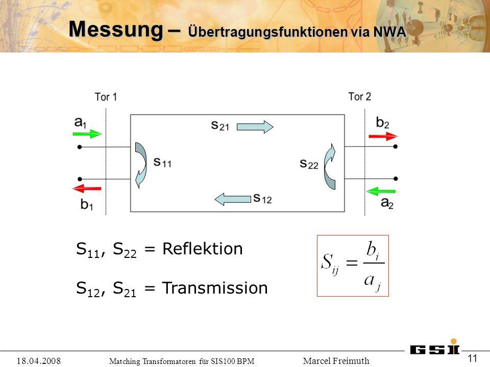Matching Transformatoren für SIS100 BPM Marcel Freimuth Messung – Übertragungsfunktionen via NWA 18.04.2008 11 S 11, S 22 = Reflektion S 12, S 21 = Transmission
