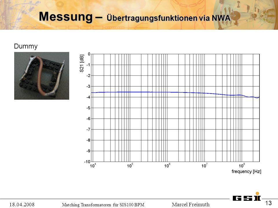 Matching Transformatoren für SIS100 BPM Marcel Freimuth Messung – Übertragungsfunktionen via NWA Dummy 18.04.2008 13