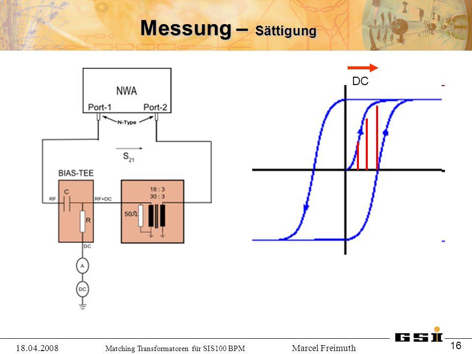 Matching Transformatoren für SIS100 BPM Marcel Freimuth Messung – Sättigung 18.04.2008 16 DC