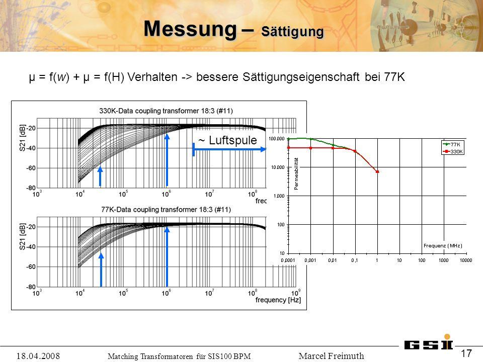 Matching Transformatoren für SIS100 BPM Marcel Freimuth Messung – Sättigung μ = f(w) + μ = f(H) Verhalten -> bessere Sättigungseigenschaft bei 77K 18.04.2008 17 ~ Luftspule