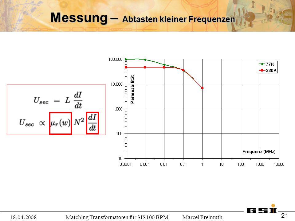 Matching Transformatoren für SIS100 BPM Marcel Freimuth18.04.2008 21 Messung – Abtasten kleiner Frequenzen