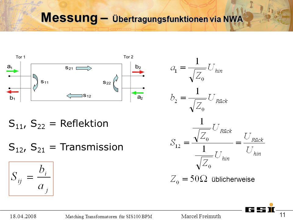 Matching Transformatoren für SIS100 BPM Marcel Freimuth Messung – Übertragungsfunktionen via NWA 18.04.2008 11 S 11, S 22 = Reflektion S 12, S 21 = Transmission üblicherweise