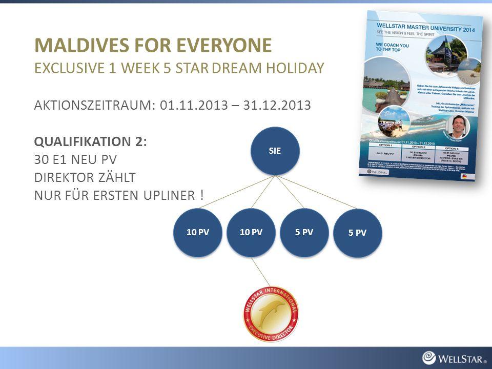 MALDIVES FOR EVERYONE EXCLUSIVE 1 WEEK 5 STAR DREAM HOLIDAY AKTIONSZEITRAUM: 01.11.2013 – 31.12.2013 QUALIFIKATION 2: 30 E1 NEU PV DIREKTOR ZÄHLT NUR FÜR ERSTEN UPLINER .