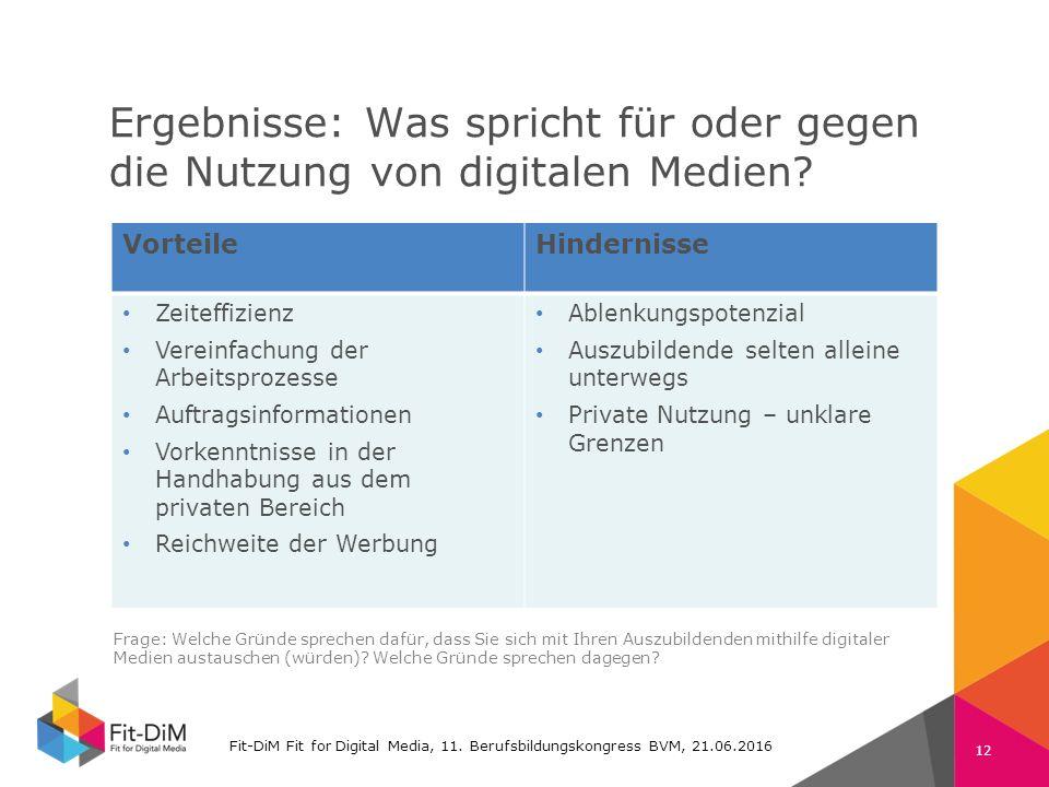 Fit-DiM Farben RGB Schrift: Verdana 225 11 105 74 132 196 80 80 80 130 130 130 Ergebnisse: Was spricht für oder gegen die Nutzung von digitalen Medien.