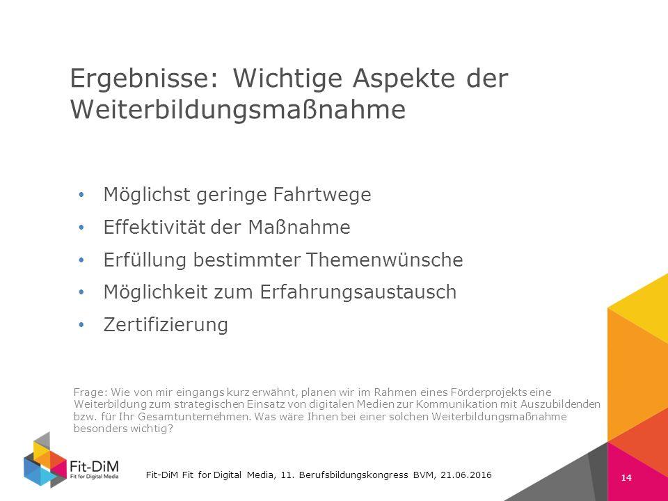 Fit-DiM Farben RGB Schrift: Verdana 225 11 105 74 132 196 80 80 80 130 130 130 Ergebnisse: Wichtige Aspekte der Weiterbildungsmaßnahme Fit-DiM Fit for Digital Media, 11.