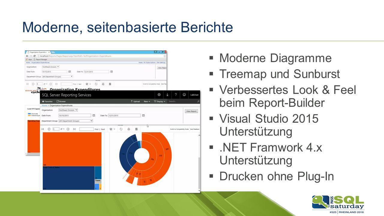 Moderne, seitenbasierte Berichte  Moderne Diagramme  Treemap und Sunburst  Verbessertes Look & Feel beim Report-Builder  Visual Studio 2015 Unterstützung .NET Framwork 4.x Unterstützung  Drucken ohne Plug-In