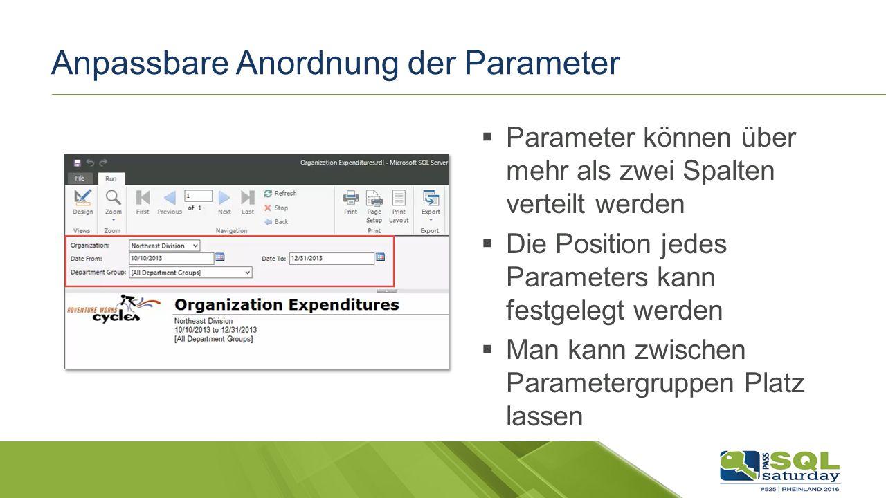 Anpassbare Anordnung der Parameter  Parameter können über mehr als zwei Spalten verteilt werden  Die Position jedes Parameters kann festgelegt werden  Man kann zwischen Parametergruppen Platz lassen