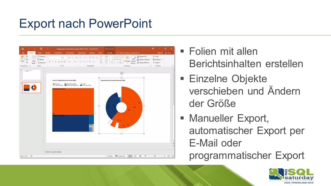Export nach PowerPoint  Folien mit allen Berichtsinhalten erstellen  Einzelne Objekte verschieben und Ändern der Größe  Manueller Export, automatischer Export per E-Mail oder programmatischer Export