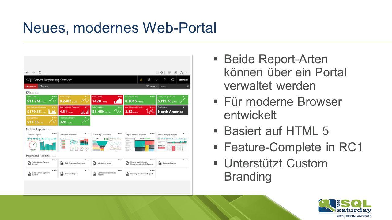 Neues, modernes Web-Portal  Beide Report-Arten können über ein Portal verwaltet werden  Für moderne Browser entwickelt  Basiert auf HTML 5  Feature-Complete in RC1  Unterstützt Custom Branding