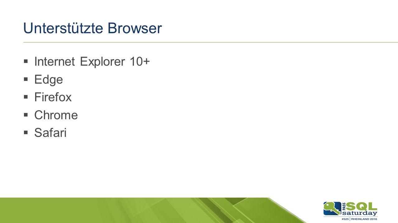 Unterstützte Browser  Internet Explorer 10+  Edge  Firefox  Chrome  Safari