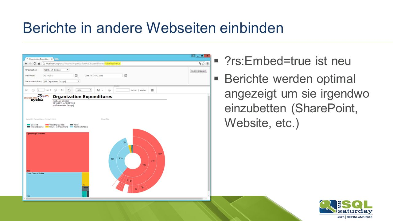 Berichte in andere Webseiten einbinden  rs:Embed=true ist neu  Berichte werden optimal angezeigt um sie irgendwo einzubetten (SharePoint, Website, etc.)