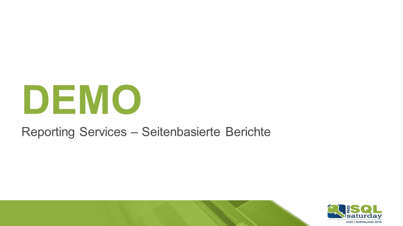 DEMO Reporting Services – Seitenbasierte Berichte