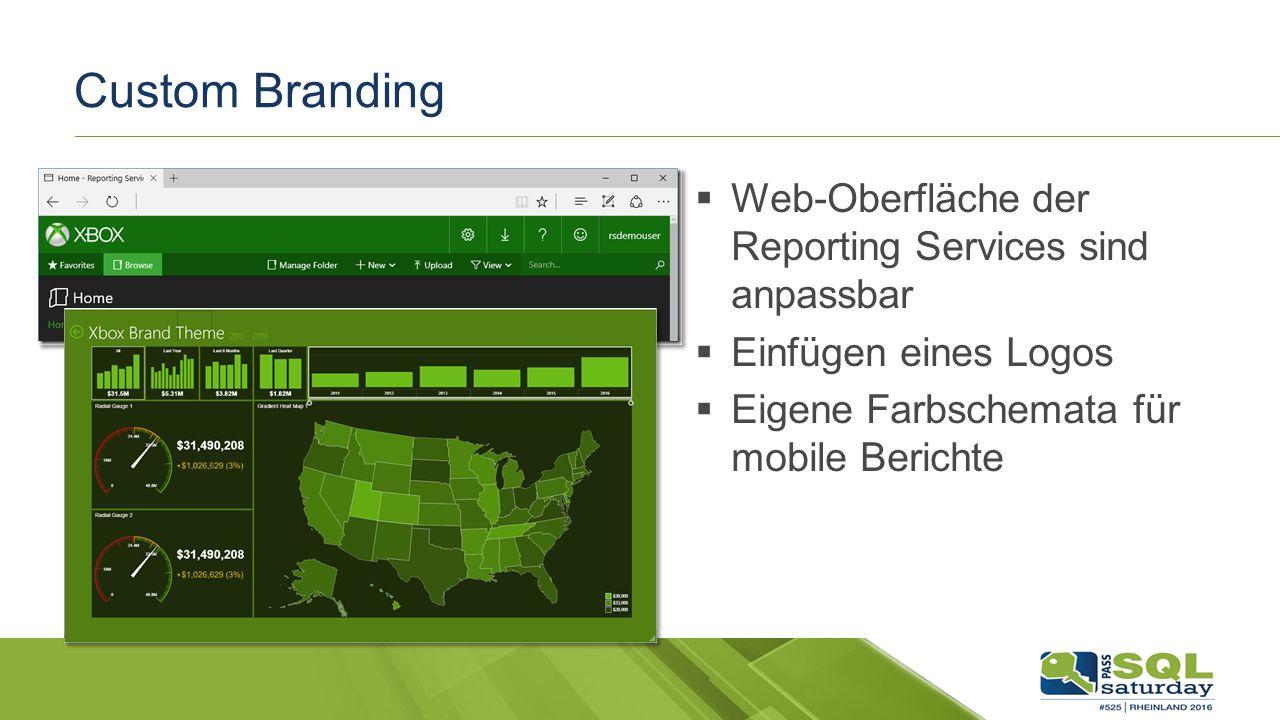 Custom Branding  Web-Oberfläche der Reporting Services sind anpassbar  Einfügen eines Logos  Eigene Farbschemata für mobile Berichte