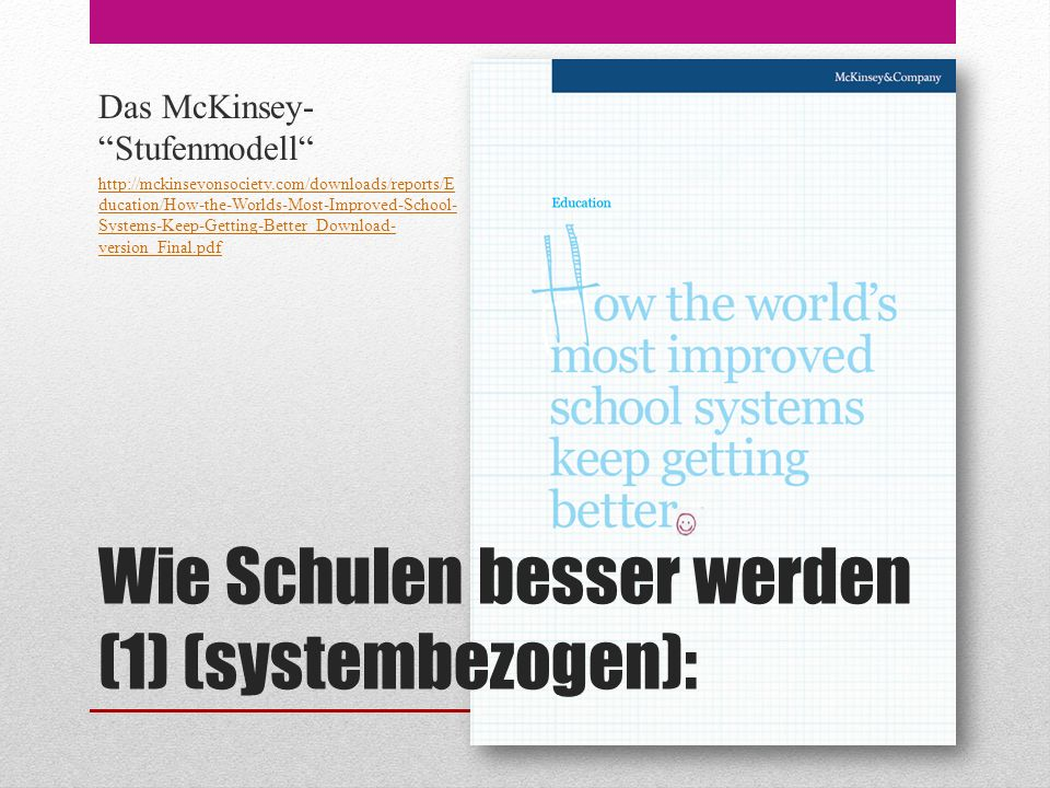 Wie Schulen besser werden (1) (systembezogen): Das McKinsey- Stufenmodell http://mckinseyonsociety.com/downloads/reports/E ducation/How-the-Worlds-Most-Improved-School- Systems-Keep-Getting-Better_Download- version_Final.pdf