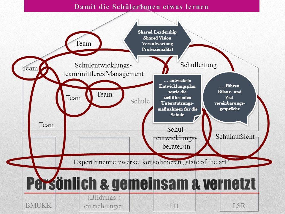 Schule Persönlich & gemeinsam & vernetzt PH LSR BMUKK (Bildungs-) einrichtungen Schulaufsicht Schulleitung Schulentwicklungs- team/mittleres Managemen