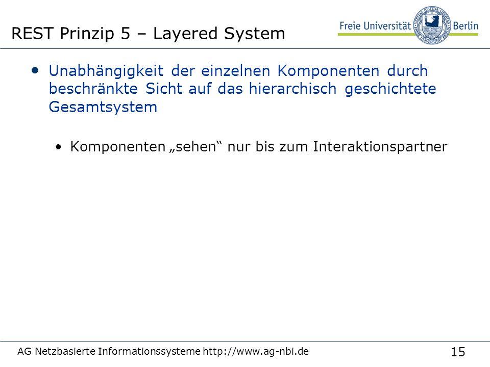 """15 Unabhängigkeit der einzelnen Komponenten durch beschränkte Sicht auf das hierarchisch geschichtete Gesamtsystem Komponenten """"sehen nur bis zum Interaktionspartner AG Netzbasierte Informationssysteme http://www.ag-nbi.de REST Prinzip 5 – Layered System"""