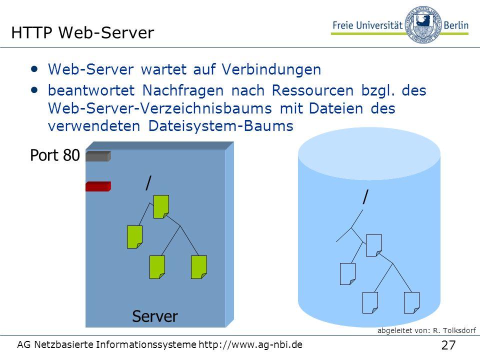 27 Web-Server wartet auf Verbindungen beantwortet Nachfragen nach Ressourcen bzgl. des Web-Server-Verzeichnisbaums mit Dateien des verwendeten Dateisy