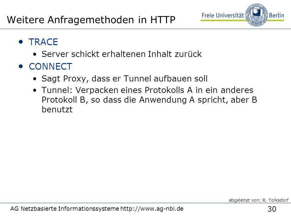 30 TRACE Server schickt erhaltenen Inhalt zurück CONNECT Sagt Proxy, dass er Tunnel aufbauen soll Tunnel: Verpacken eines Protokolls A in ein anderes Protokoll B, so dass die Anwendung A spricht, aber B benutzt AG Netzbasierte Informationssysteme http://www.ag-nbi.de Weitere Anfragemethoden in HTTP abgeleitet von: R.