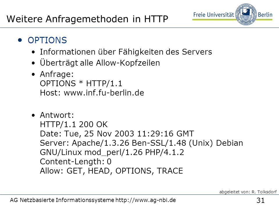 31 OPTIONS Informationen über Fähigkeiten des Servers Überträgt alle Allow-Kopfzeilen Anfrage: OPTIONS * HTTP/1.1 Host: www.inf.fu-berlin.de Antwort: HTTP/1.1 200 OK Date: Tue, 25 Nov 2003 11:29:16 GMT Server: Apache/1.3.26 Ben-SSL/1.48 (Unix) Debian GNU/Linux mod_perl/1.26 PHP/4.1.2 Content-Length: 0 Allow: GET, HEAD, OPTIONS, TRACE AG Netzbasierte Informationssysteme http://www.ag-nbi.de Weitere Anfragemethoden in HTTP abgeleitet von: R.