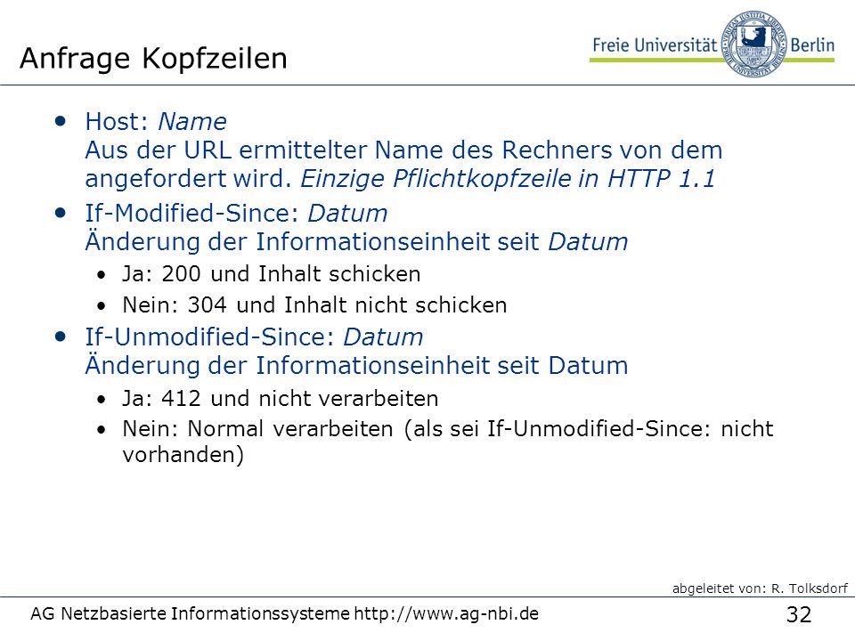 32 AG Netzbasierte Informationssysteme http://www.ag-nbi.de Anfrage Kopfzeilen Host: Name Aus der URL ermittelter Name des Rechners von dem angefordert wird.