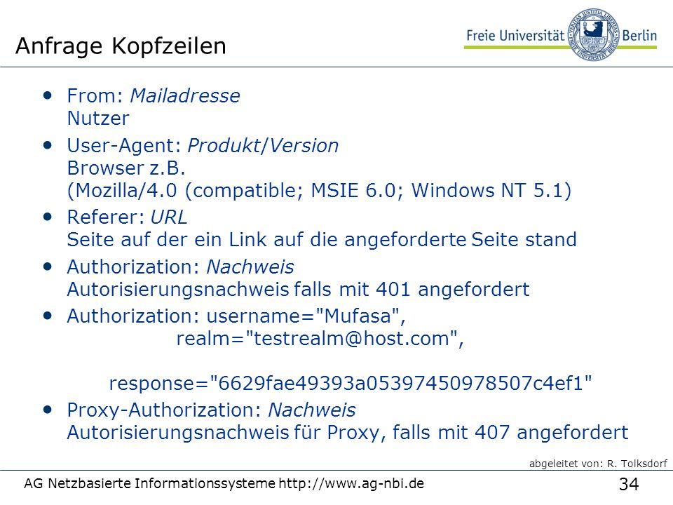 34 AG Netzbasierte Informationssysteme http://www.ag-nbi.de Anfrage Kopfzeilen From: Mailadresse Nutzer User-Agent: Produkt/Version Browser z.B.