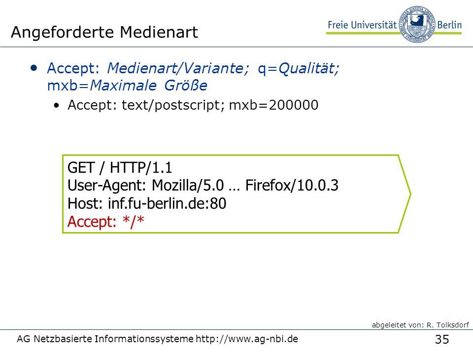 35 AG Netzbasierte Informationssysteme http://www.ag-nbi.de Angeforderte Medienart Accept: Medienart/Variante; q=Qualität; mxb=Maximale Größe Accept: text/postscript; mxb=200000 GET / HTTP/1.1 User-Agent: Mozilla/5.0 … Firefox/10.0.3 Host: inf.fu-berlin.de:80 Accept: */* abgeleitet von: R.