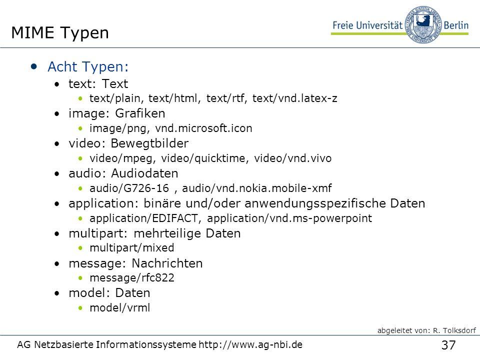 37 AG Netzbasierte Informationssysteme http://www.ag-nbi.de MIME Typen Acht Typen: text: Text text/plain, text/html, text/rtf, text/vnd.latex-z image: