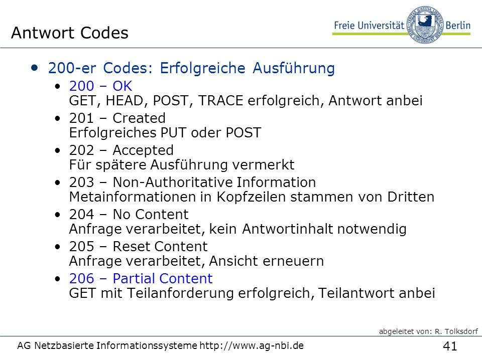 41 AG Netzbasierte Informationssysteme http://www.ag-nbi.de Antwort Codes 200-er Codes: Erfolgreiche Ausführung 200 – OK GET, HEAD, POST, TRACE erfolg